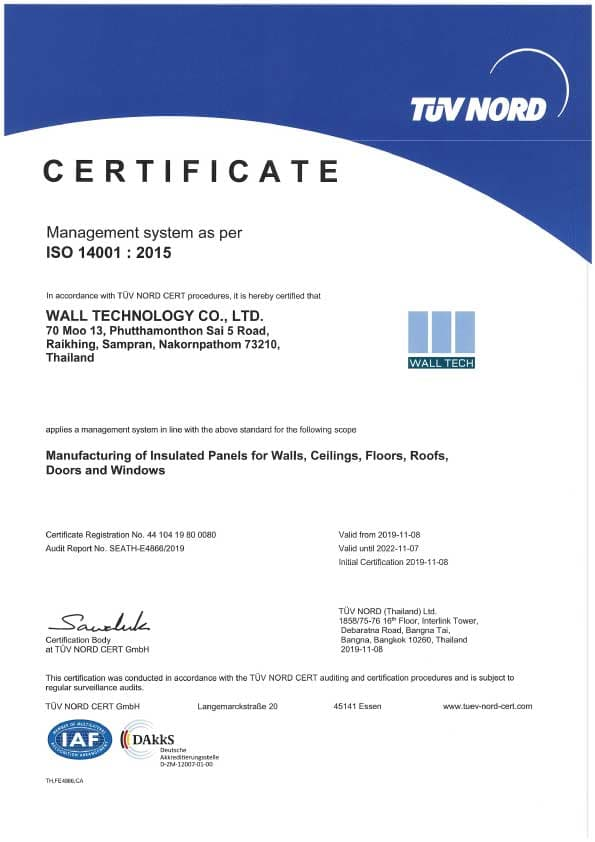 Certificate ISO14000 2015